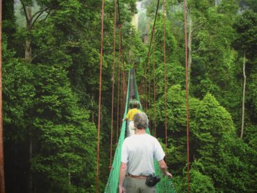 Walking across a jungle bridge in Borneo, Malaysia