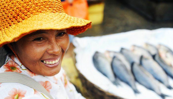 Local woman at fish market