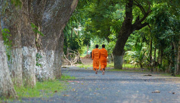 Cambodian monks walking