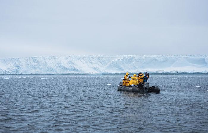 A Zodiac dinghy in Antarctica