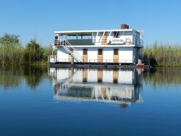 A houseboat in Botswana's Okavango Delta
