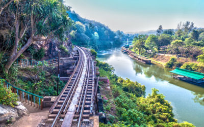 View of the Burma 'Death Railway' from Tham Krasae in Kanchanaburi