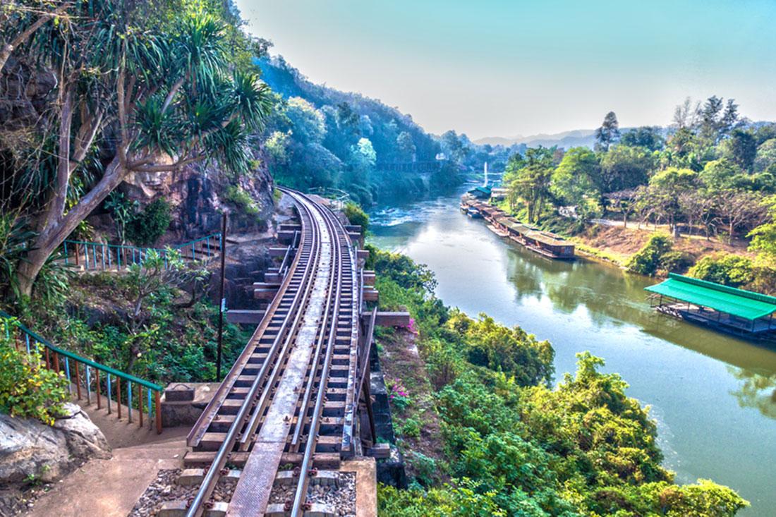 View of the Burma 'Death Railway' from Tham Krasae in Kanchanaburi