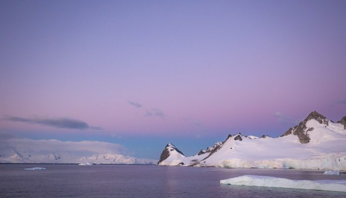 A dramatic mauve sunset in Antarctica