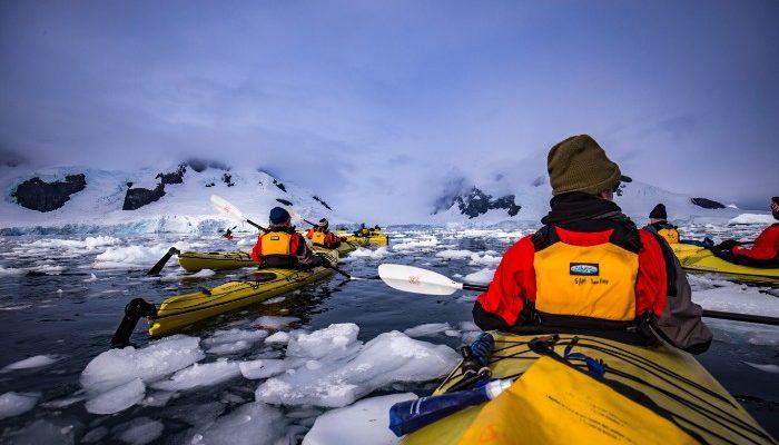 Kayaking through Antarctica's icy waters