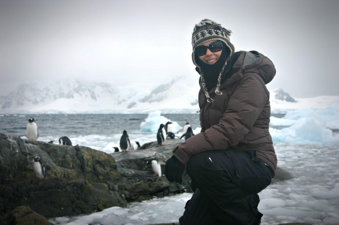 Author Jen Adams in Antarctica