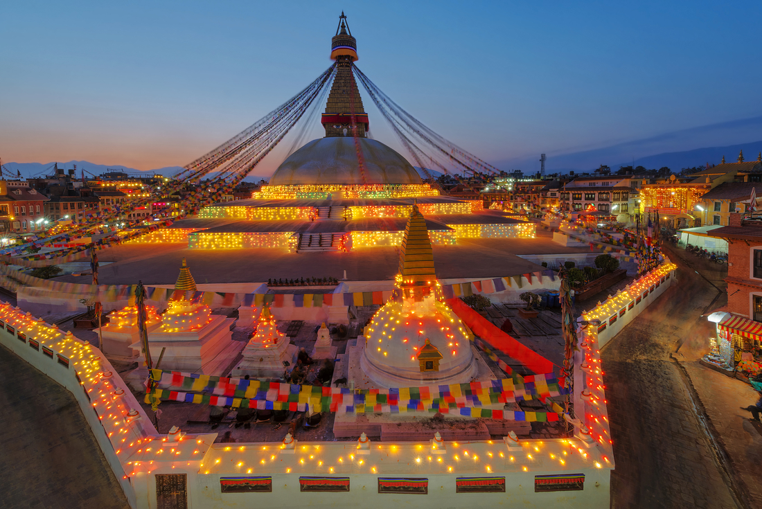 Bodhnath Stupa at night