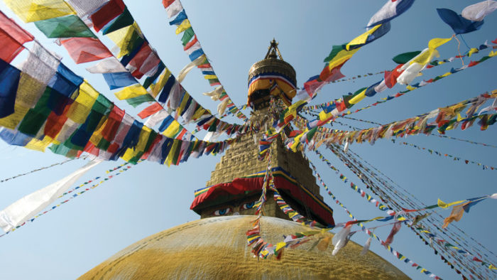 Prayer flags at a Kathmandu stupa