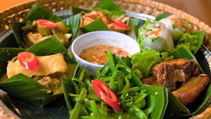 A tray of traditional cuisine in Cambodia
