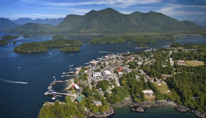 Aerial view of Tofino, Vancouver Island