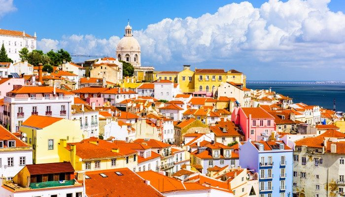 Looking over the colourful houses of Alfama, Portugal