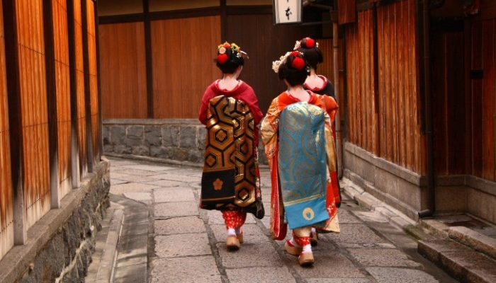Three geishas in Kyoto