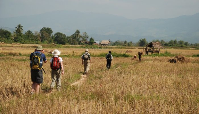 group hiking in Cambodian countryside