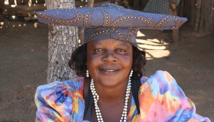 A local lady in a traditional hat, Botswana