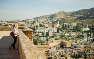 Traveller enjoying views over Granada