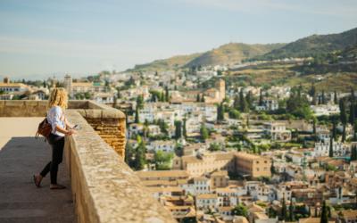 Traveller enjoying views over Granada
