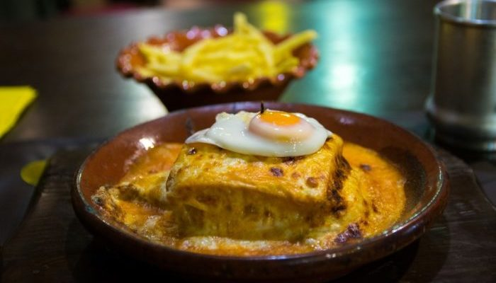 Francesinha, typical dish from Porto, Portugal