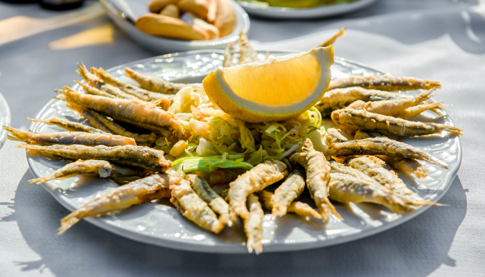 A plate of fried anchovies