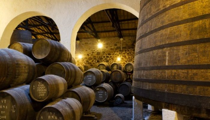 Port cellar filled with barrells