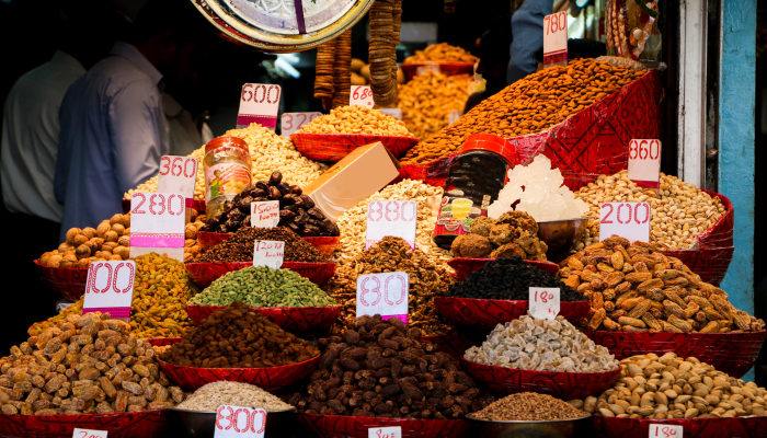 Dried fruit stall in Chandni Chowk, India