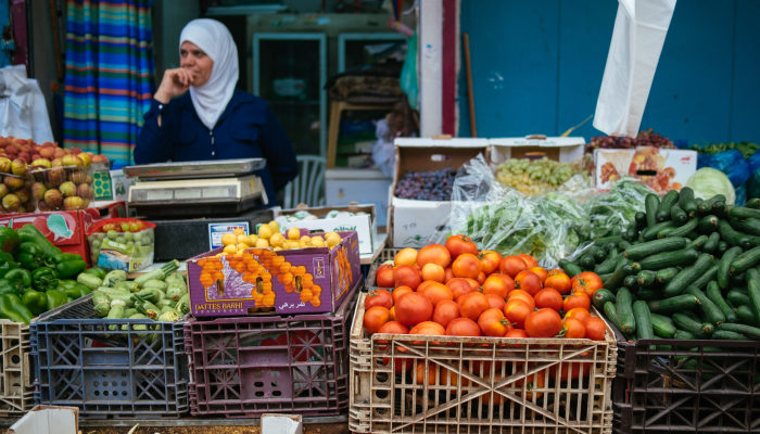 Vegetable seller at Acre Market in Israel