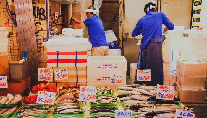 Fishmongers at Tsukiji, Tokyo