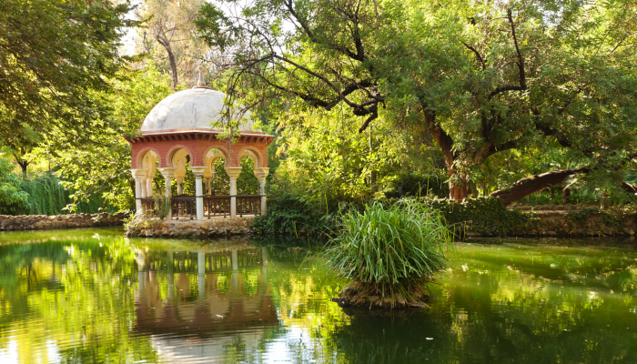 Romantic pavillion in Maria Luisa Park, Seville