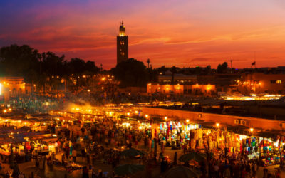Sunset over the medina in Marrakech, Morocco