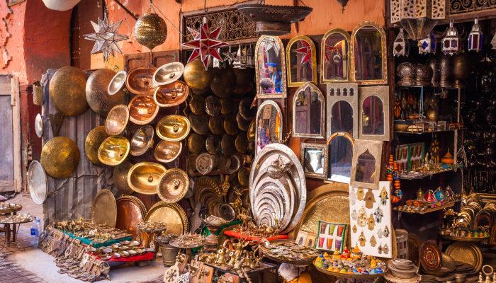 Metalwork for sale in Marrakech Medina