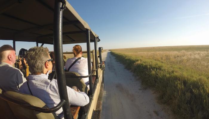 Safari passengers in Botswana