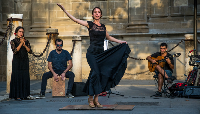 Flamenco dancer outside Seville Cathedral