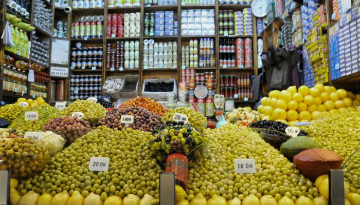 Olives piled high at the food market, Tangier