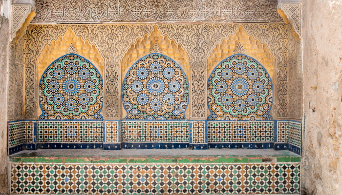 Islamic tiled fountain in Tangier, Morocco