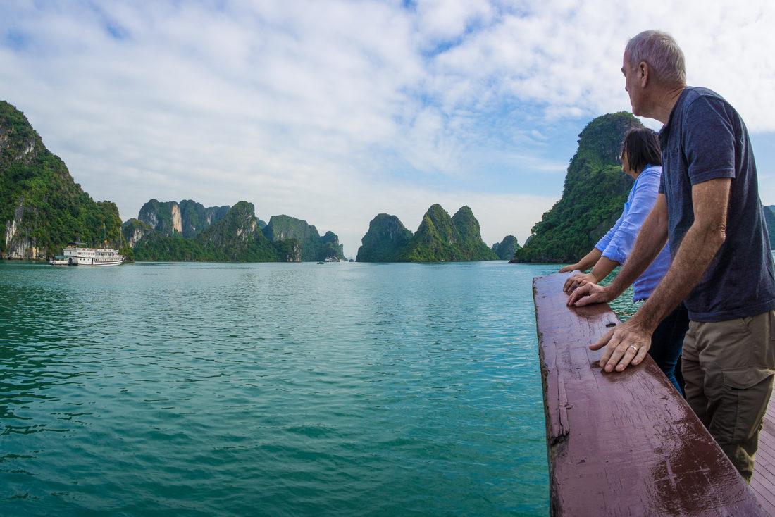 traveller in Ha Long Bay, Vietnam