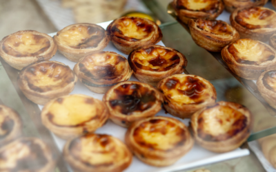 Pastel de nata in Portuguese bakery window
