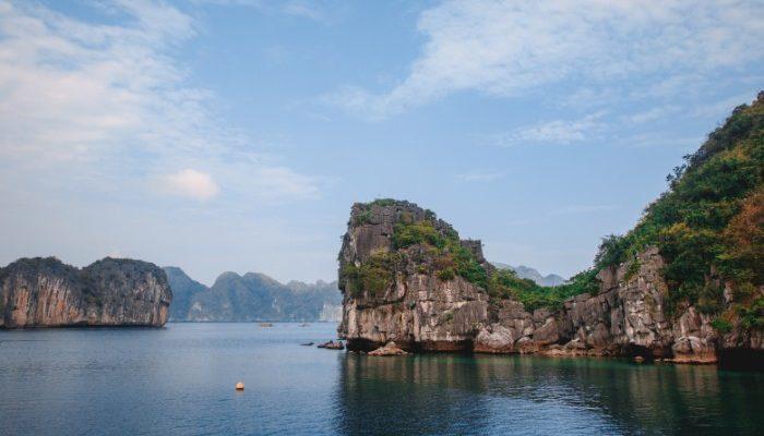 The limestone islands of Lan Ha Bay and Ha Long Bay