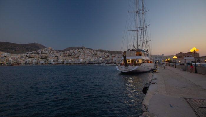 life lessons Syros skyline