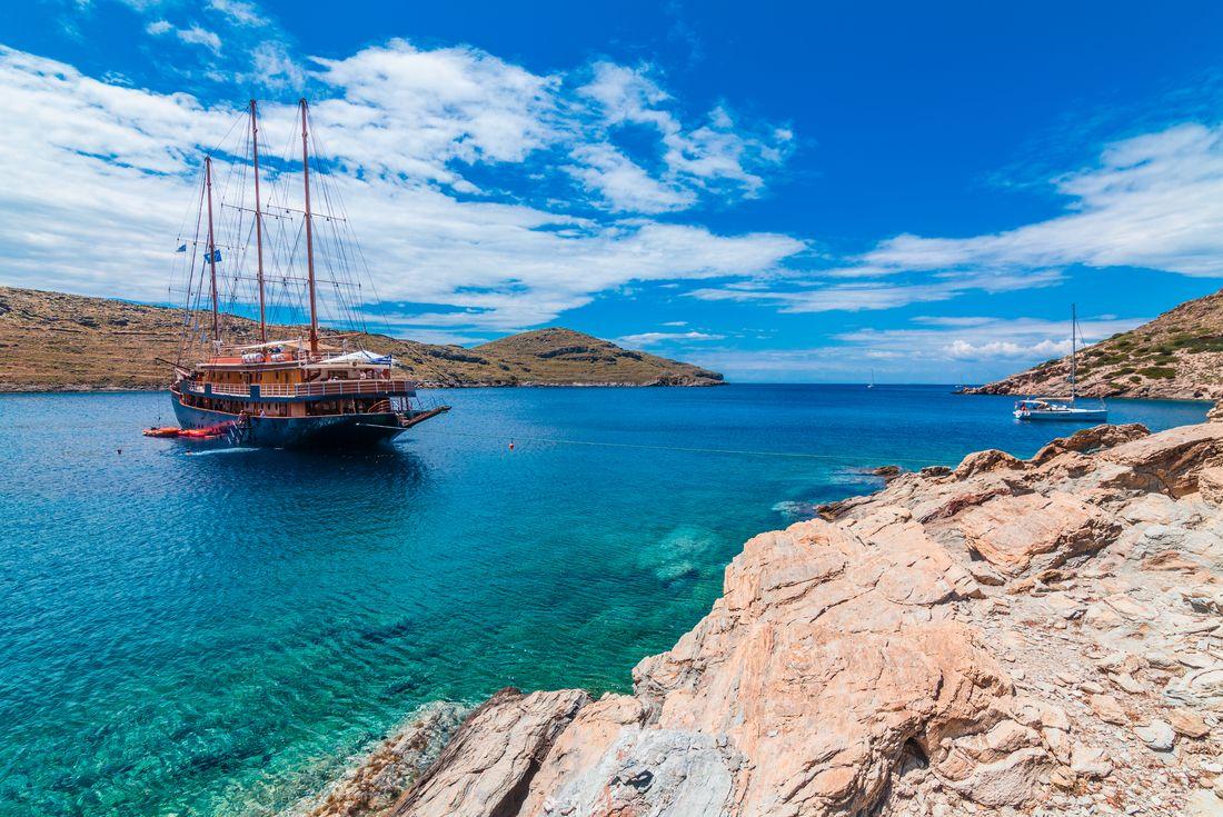 Ship anchored in beautiful bay