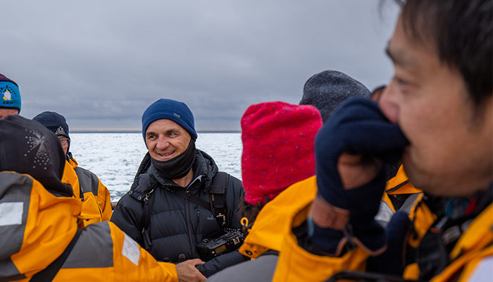 Michael Snedic with his group in Svalbard.