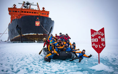 Solan and his team arriving at the North Pole.