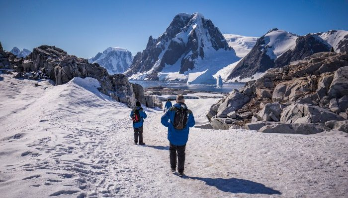 Walking on Petermann Island in Antarctica