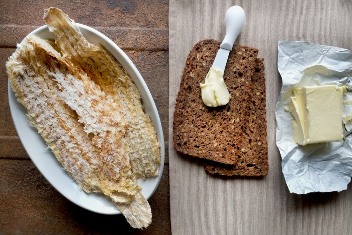 Dried fish and rye bread in Iceland