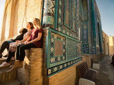 Three travellers at Samarkand Shah-i-Zinda