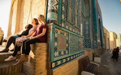 Three travellers at Samarkand Shah-i-Zinda