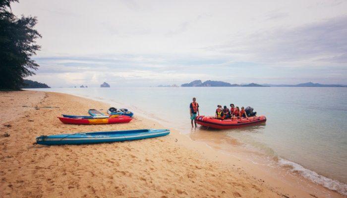 Kayaks on the beach in Koh Kradan, Thailand