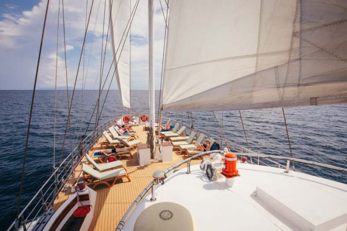 The deck of a sailboat