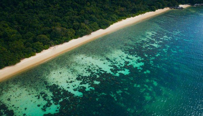Aerial view of a beach in Thailand