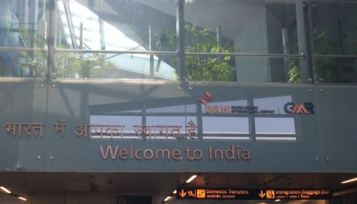 Welcome to India sign at the airport