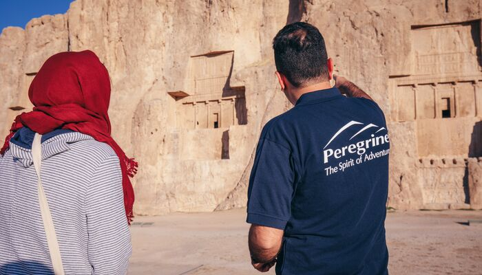 Peregrine guide pointing to sight in Iran