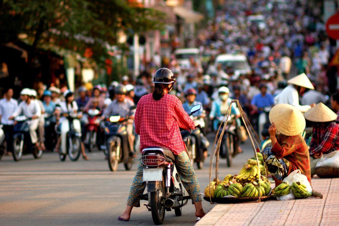 A man on a motorbike in Vietnam